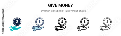 Photo Give money icon in filled, thin line, outline and stroke style