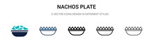 Nachos Plate Icon In Filled, Thin Line, Outline And Stroke Style. Vector Illustration Of Two Colored And Black Nachos Plate Vector Icons Designs Can Be Used For Mobile, Ui, Web
