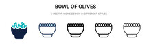 Bowl Of Olives Icon In Filled,...