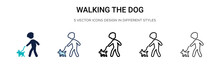 Walking The Dog Icon In Filled, Thin Line, Outline And Stroke Style. Vector Illustration Of Two Colored And Black Walking The Dog Vector Icons Designs Can Be Used For Mobile, Ui, Web