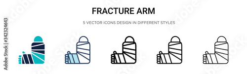 Fracture arm icon in filled, thin line, outline and stroke style Wallpaper Mural