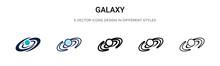 Galaxy Icon In Filled, Thin Li...