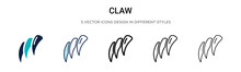 Claw Icon In Filled, Thin Line...