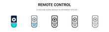 Remote Control Icon In Filled, Thin Line, Outline And Stroke Style. Vector Illustration Of Two Colored And Black Remote Control Vector Icons Designs Can Be Used For Mobile, Ui, Web