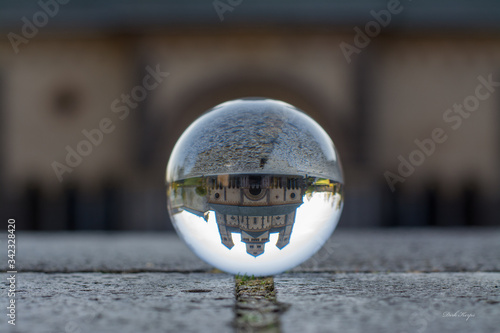 Reflection Of Maria Laach Abbey On Crystal Ball Wallpaper Mural