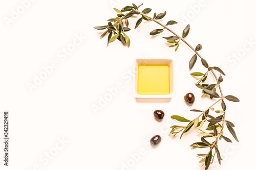 Aceite de oliva virgen extra, olivo y aceitunas Canvas Print