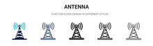 Antenna Icon In Filled, Thin Line, Outline And Stroke Style. Vector Illustration Of Two Colored And Black Antenna Vector Icons Designs Can Be Used For Mobile, Ui, Web