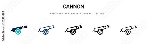 Fotografia, Obraz Cannon icon in filled, thin line, outline and stroke style