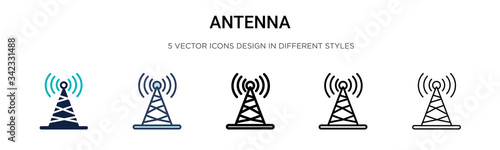 Canvas Print Antenna icon in filled, thin line, outline and stroke style