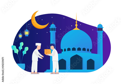 illustration of a Muslim giving gifts. alms during Ramadan Wallpaper Mural