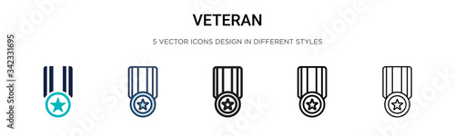 Fototapeta Veteran icon in filled, thin line, outline and stroke style