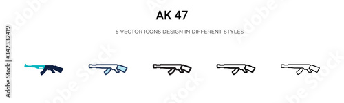 Photo Ak 47 icon in filled, thin line, outline and stroke style