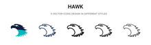 Hawk Icon In Filled, Thin Line, Outline And Stroke Style. Vector Illustration Of Two Colored And Black Hawk Vector Icons Designs Can Be Used For Mobile, Ui, Web