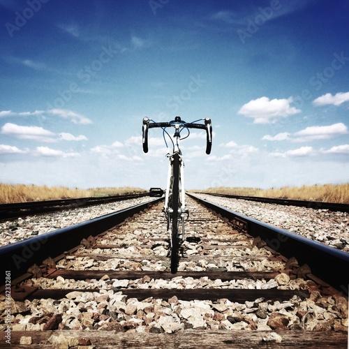 Mountain Bike On Railroad Track Fototapeta