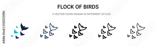 Valokuvatapetti Flock of birds icon in filled, thin line, outline and stroke style