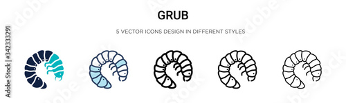 Fotomural Grub icon in filled, thin line, outline and stroke style