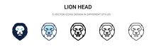 Lion Head Icon In Filled, Thin Line, Outline And Stroke Style. Vector Illustration Of Two Colored And Black Lion Head Vector Icons Designs Can Be Used For Mobile, Ui, Web