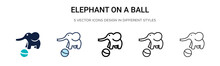 Elephant On A Ball Icon In Fil...