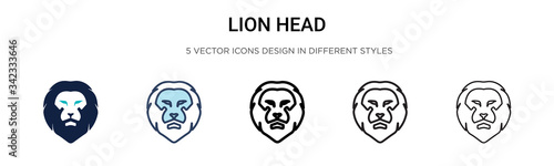 Cuadros en Lienzo Lion head icon in filled, thin line, outline and stroke style