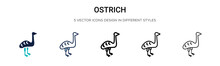 Ostrich Icon In Filled, Thin L...
