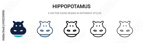 Photo Hippopotamus icon in filled, thin line, outline and stroke style
