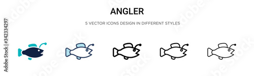 Angler icon in filled, thin line, outline and stroke style Wallpaper Mural