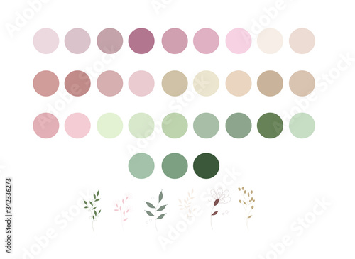 Stampa su Tela neutrals color palette and abstract flowers, procreate  swatches, workpiece icon