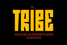 Tribal Style Font Design, Alphabet Letters And Numbers
