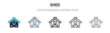 Shed Icon In Filled, Thin Line, Outline And Stroke Style. Vector Illustration Of Two Colored And Black Shed Vector Icons Designs Can Be Used For Mobile, Ui, Web