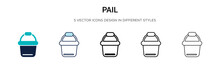 Pail Icon In Filled, Thin Line...