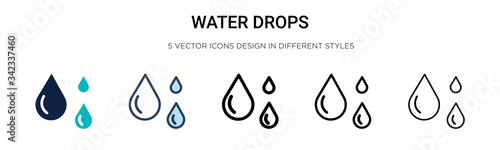 Water drops icon in filled, thin line, outline and stroke style. Vector illustration of two colored and black water drops vector icons designs can be used for mobile, ui, web