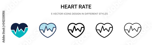 Valokuva Heart rate icon in filled, thin line, outline and stroke style