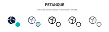 Petanque Icon In Filled, Thin Line, Outline And Stroke Style. Vector Illustration Of Two Colored And Black Petanque Vector Icons Designs Can Be Used For Mobile, Ui, Web