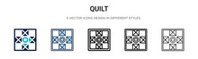 Quilt Icon In Filled, Thin Line, Outline And Stroke Style. Vector Illustration Of Two Colored And Black Quilt Vector Icons Designs Can Be Used For Mobile, Ui, Web