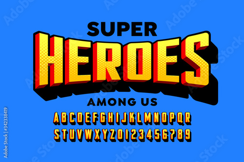 Comics super hero style font design, alphabet letters and numbers Fototapete