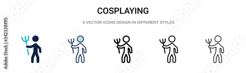 Fototapeta Cosplaying icon in filled, thin line, outline and stroke style