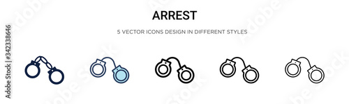 Leinwand Poster Arrest icon in filled, thin line, outline and stroke style