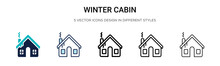 Winter Cabin Icon In Filled, T...
