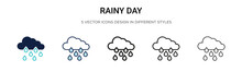 Rainy Day Icon In Filled, Thin Line, Outline And Stroke Style. Vector Illustration Of Two Colored And Black Rainy Day Vector Icons Designs Can Be Used For Mobile, Ui, Web