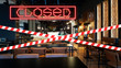 Closed due to pandemic. Premises of cafe are covered with red and white ribbon.
