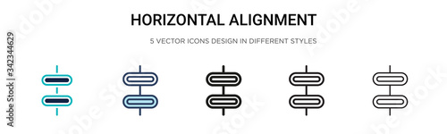 Horizontal alignment icon in filled, thin line, outline and stroke style Canvas Print