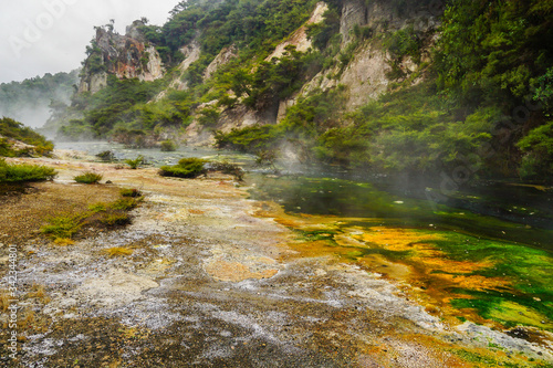 Photo WAIMANGU VOLCANIC VALLEY, NEW ZEALAND - MARCH 03, 2020: Multicoloured shore of a