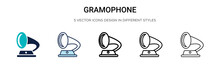 Gramophone Icon In Filled, Thin Line, Outline And Stroke Style. Vector Illustration Of Two Colored And Black Gramophone Vector Icons Designs Can Be Used For Mobile, Ui, Web