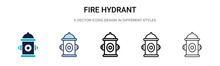 Fire Hydrant Icon In Filled, Thin Line, Outline And Stroke Style. Vector Illustration Of Two Colored And Black Fire Hydrant Vector Icons Designs Can Be Used For Mobile, Ui, Web