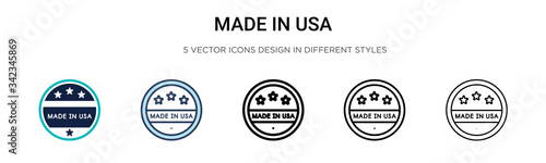 Made in usa icon in filled, thin line, outline and stroke style Tableau sur Toile