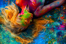 Portrait Of Woman In Colored P...
