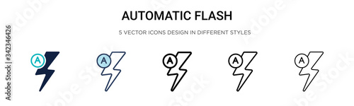 Fotomural Automatic flash icon in filled, thin line, outline and stroke style
