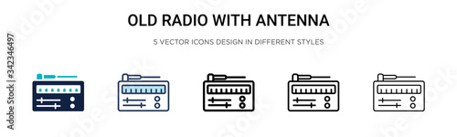 Old radio with antenna icon in filled, thin line, outline and stroke style Canvas Print