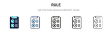 Rule Icon In Filled, Thin Line...