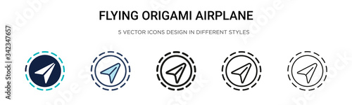Fotografie, Obraz Flying origami airplane icon in filled, thin line, outline and stroke style